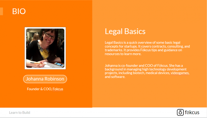 Legal Basics overview and speaker bio